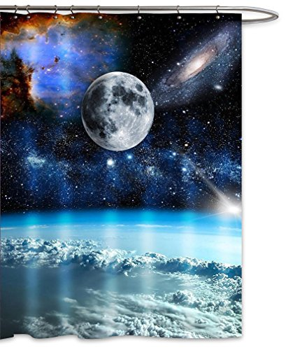 Moon Galaxy Nebula Fabric Shower Curtain Full Moon Starry Night Blue Earth Outer Space Universe Waterproof Mildew Resistant Bath Decor-Black Blue (70''Wx70''L) by FOOG