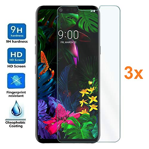3X Screen Protector for LG G8 THINQ, Tempered Glass Film, Premium Quality, Perfect Protection for Scratches, Breaks, Moisture, [Pack 3X]