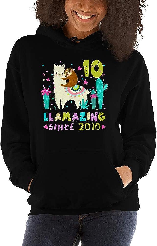 TEEPOMY Sloth Riding Llama 10th Birthday Girl Kids 10 Years Old Unisex Hoodie