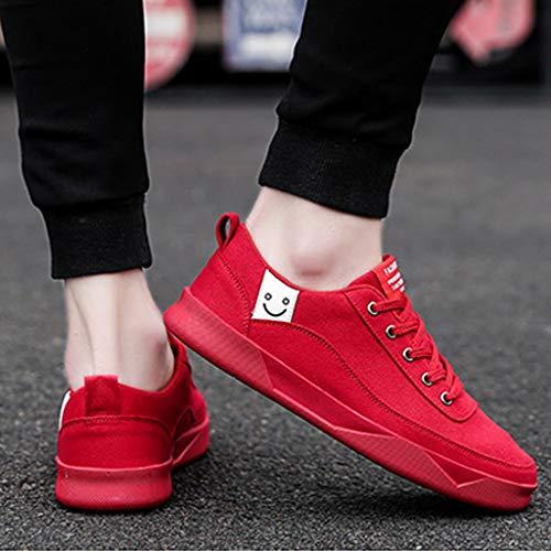 color Ocasionales 41 Verano Red Tendencia Black Hombres Los Lona Size Salvajes Transpirables Zapatos Wangkuanhome De qf88v
