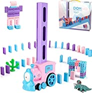 Domino Train Blocks Rally Electric Toy Set, Train Model with Lights and Sounds Construction and Stacking Toys,