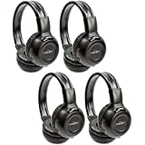 "Four Pack of Two Channel Folding Adjustable Universal Rear Entertainment System Infrared Headphones With Four Additional 48"" 3.5mm Auxiliary Cords Wireless IR DVD Player Head Phones for in Car TV Video Audio Listening With Superior Sound Quality"