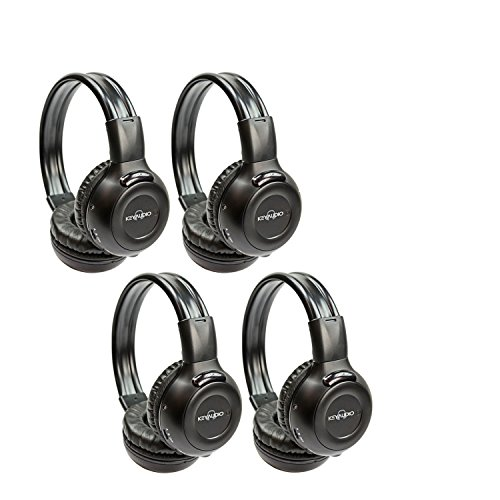 Four Pack of Two Channel Folding Adjustable Universal Rear Entertainment System Infrared Headphones With Four Additional 48