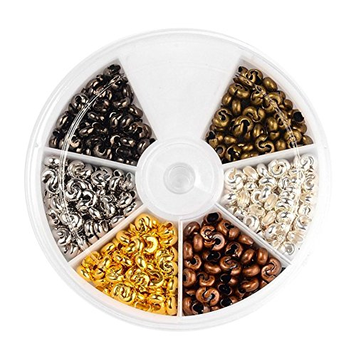 Wadoy 360PCS 5mm Crimp Beads Knot Covers for Jewelry Making - 6 Colors, Antique Bronze & Red Copper & Black & Silver & Golden & Platinum