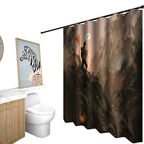 StarsART Shower Curtains Blue and Yellow,Fantasy Art House Decor,Lost Hiker Looking at Map Over Beast Creature Dragon Fiction,Shower Curtain for Women,W48 x L72,Black Purple