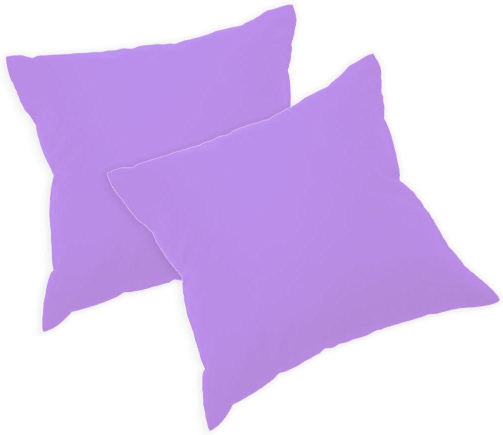 Nurtextil24 Kissenh/üllen 2er Pack 35 x 35 cm in 30 Farben Kissenbezug Baumwolle Bezug mit Rei/ßverschluss Pink