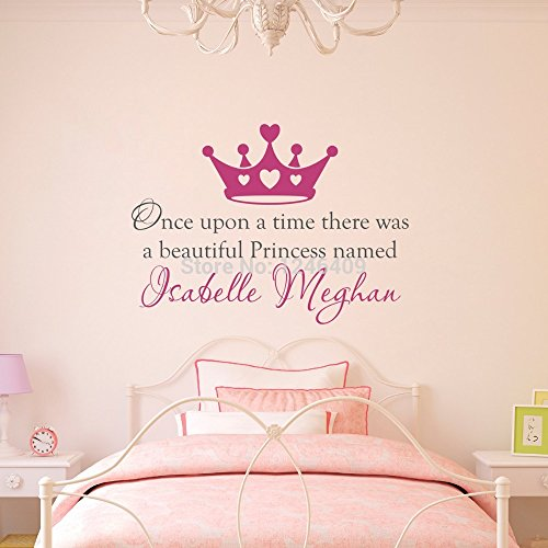 Custom Made Once Upon a Time Personalized Name Princess Crown Wall Decal Wall Stickers Quotes Art Nursery Vinyl Kids Decor-you Choose Name and Color (Personalized Wall Art For Kids compare prices)