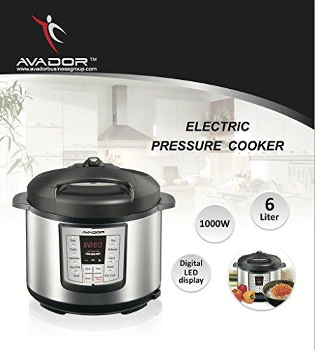 Avador AV-13CS603W 10 Preset Menu Pressure Cooker 6Qt/1000W, Stainless Steel Cooking Pot and Exterior