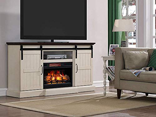 Hogan Electric Fireplace TV Stand with Logset, Weathered White