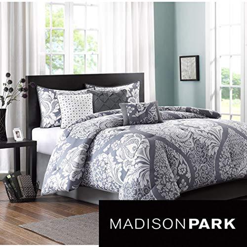 king size comforter set in modern paisley prints on sale 7 piece purple gray 100 cotton. Black Bedroom Furniture Sets. Home Design Ideas