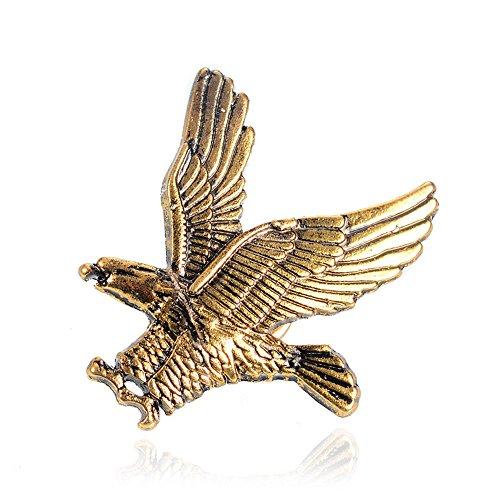 - Gold Silver Flying Eagle Brooch Pins for Men (Golden)