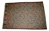 Handmade Pashmina & Fine Wool Fabric Multicolor Floral Paisley KANI Scarf/Stole.X1832