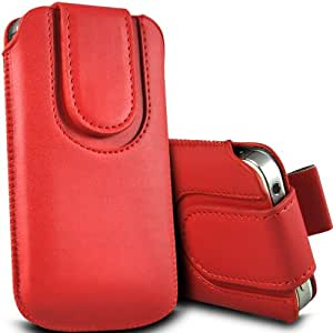 ONX3 LG Optimus L1 II Tri E475 Leather Slip protectora magnética de la PU de cordón en la bolsa de la liberación rápida (rojo)