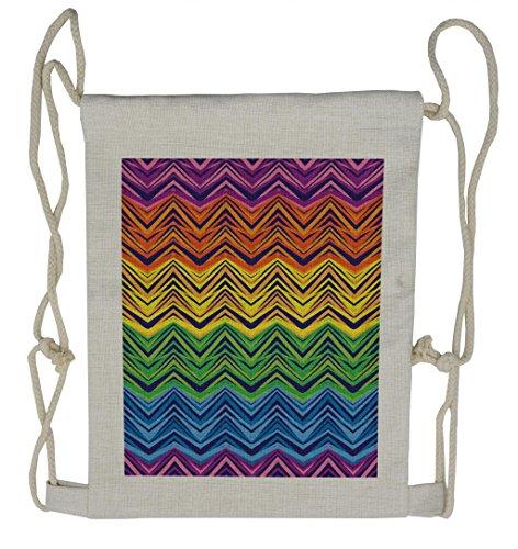Lunarable Ethnic Drawstring Backpack, Americana Motifs Aztec Art, Sackpack Bag