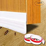 UMLIFE 2 Pack Under Door Sweep Strip, Bottom Seal Weather Stripping for Air Leak-Direct Energy Saver, Noise Door Draft Stopper Prevent Bugs, 2'' Width x 39'' Length(White)