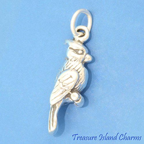 Blue Jay Cardinal Bird 3D .925 Solid Sterling Silver Charm New Ideal Gifts, Pendant, Charms, DIY Crafting, Gift Set from Heart by Wholesale Charms