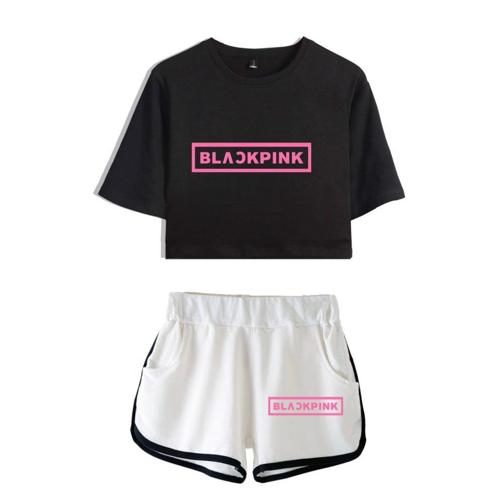 Kpop Blackpink T-Shirt & Kurze Hose Set Liebespaar Shorts & Top Sets Sport Set JISOO Lisa Rose Jennie Trainingsanzug
