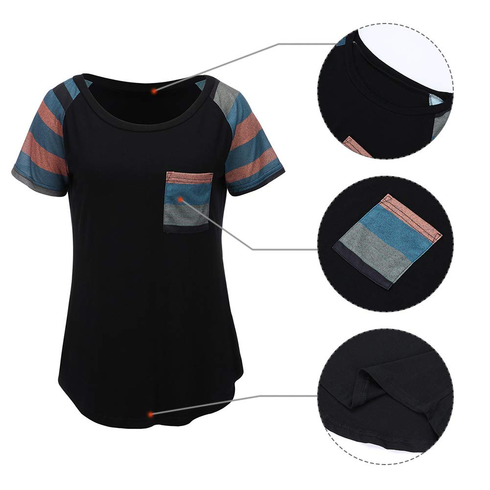 196b25045f9 HUHHRRY Women Casual Shirts Short Sleeve Mutil Color Striped Tops Blouses  at Amazon Women s Clothing store