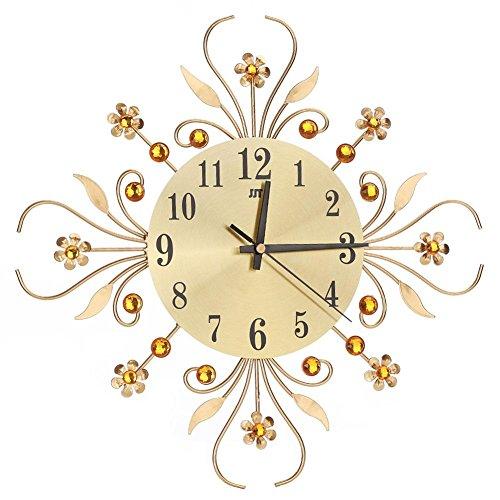 (Modern Metal Diamonds Wall Clock Flower Silent 3D Art Metal Modern Luxury Diamond Indoor Home Living Room Decord)