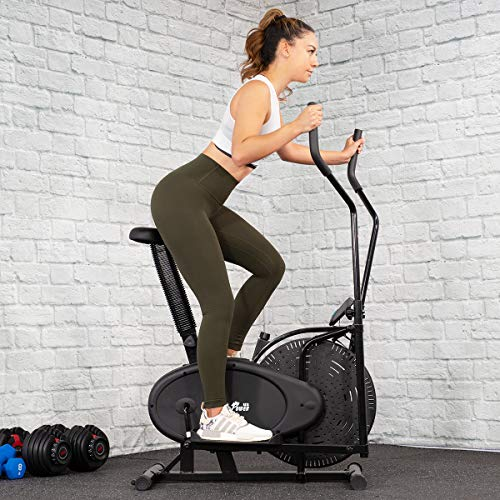 XtremepowerUS Dual Action Elliptical Fan Bike Cross Trainer Air Resistance System Machine Exercise Workout w/LCD Monitor (Dual Action Elliptical)
