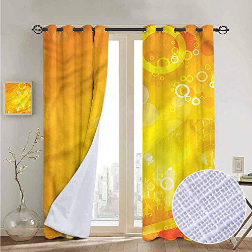 NUOMANAN Customized Curtains Orange,Circles Dots Sunburst,Blackout Draperies for Bedroom Living Room 54