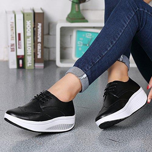 Zapatos Casuales Los Zapatos la Al Gruesa Cuero negro Superficie Parte EUR36 Transpirable Resistente de Zapatos de Que Y Zapatos Desgaste Femeninos Inferior 5 Sacude Transpirables PqUwwz1