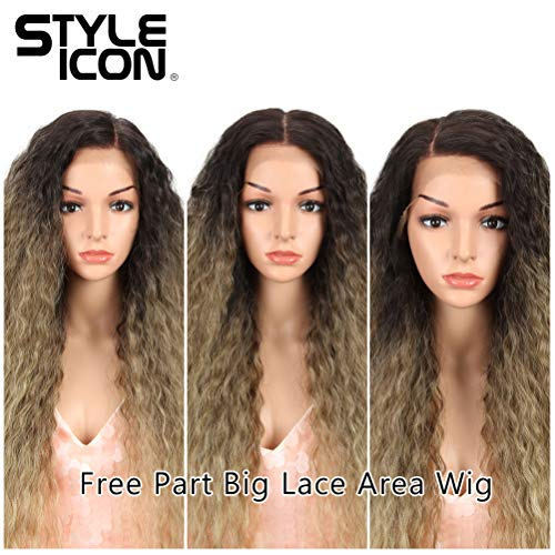 """Style Icon 29"""" Super Long Curly Wig Big Area Lace Front Wigs Free Part Wig Synthetic Wigs Long Fluffy Curl Wig (29"""