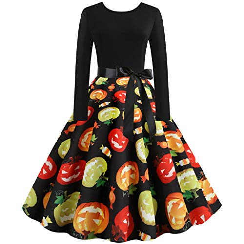 Halloween Dresses Womens Long Sleeve Cocktail Swing Dress Skeleton Pumpkin Printed Cosplay Party Costume(Multicoloured,Large)