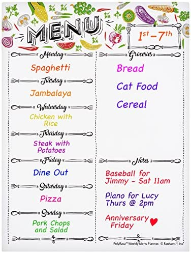 Polyrasa Write-On Dry Erase Meal Planner Refrigerator Magnetic Board | Organize Family Life with a Weekly Menu and Grocery List | Fridge Magnet with Notes for Reminders and Appointments with Marker 2