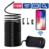 Wireless Endoscope, NIDAGE 50 FT Long WiFi Borescope Inspection Camera 2.0 MP Semi-Rigid Snake Camera Compatible Android and iOS Smartphone, iPhone, Samsung, Tablet
