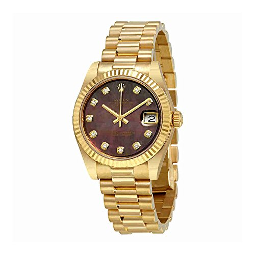 Rolex Datejust Black Mother Of Pearl Diamond Dial Ladies 18K Yellow Gold President Watch 178278BKMDP
