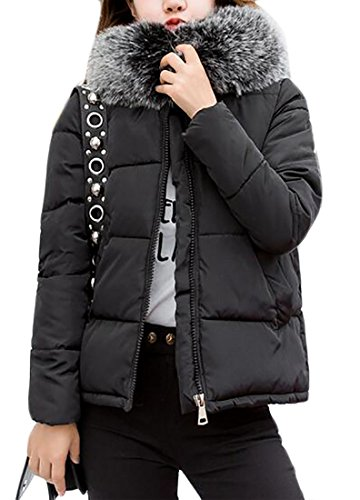 Womens Solid Black Hooded today Down Short Long Sleeve Faux Fur Puffer Jacket UK Collar xwOOqCg