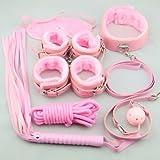 Sex Toy Fetish Bondage Kit 7pcs Pink Cosplay Toy Under the Bed Bdsm S&m Restraints System