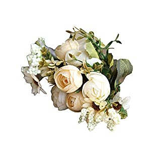 Artificial Roses Flannel Fake Flowers Wedding Bouquet Home Decor 7