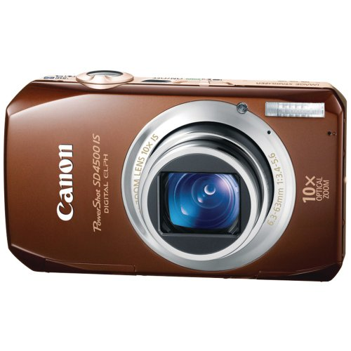 Canon Powershot Sx Series - Canon PowerShot SD4500 IS 10 MP CMOS 10x Optical Image Stabilized Zoom with Full-HD Video and 3.0-Inch LCD Digital Camera (Brown) (OLD MODEL)