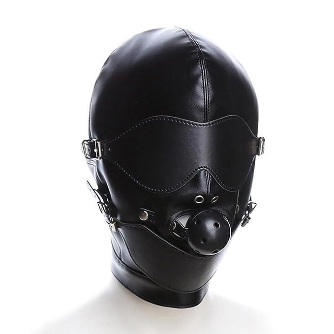 Mirlun Máscara Bondage - Máscara integral SM totalmente cerrada de cuero para sumisión: Amazon.es: Deportes y aire libre
