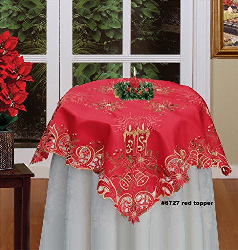 (Creative Linens Holiday Christmas Embroidered Poinsettia Candle Bell Tablecloth 33x33Square Red Gold Topper)