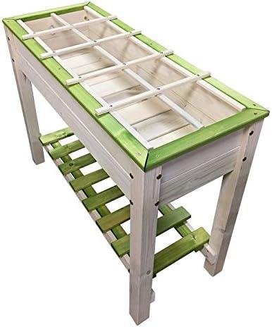 Jardín elevado de madera, blanco y verde, seguridad alta, con ...