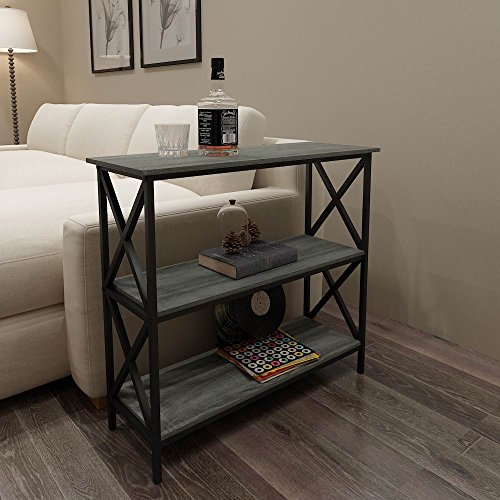 Amazon Weathered Grey Oak Finish 3 Tier Metal X Design Bookcase Bookshelf Console Sofa Table Kitchen Dining