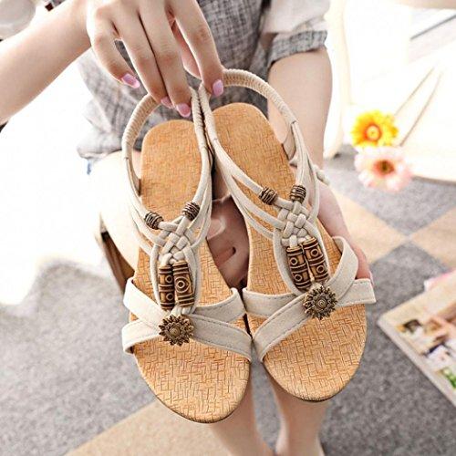 Casual Beige toe Peep Summer Women's Shoes Flat hunpta Sandals Buckle Roman awqZn5vf