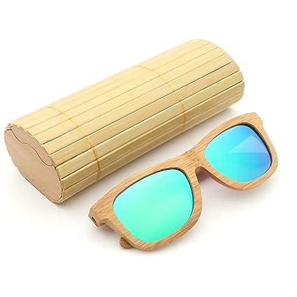 Niulyled Gafas de Sol Polarizadas de Bambú para Hombre y Mujer, Gafas de Sol de