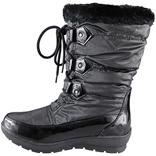 lininf Boots 3 Winter 8 Loud Ankle Fur Ladies Look Up Lace Size Black Snow qqrzXA