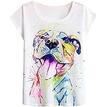 Futurino Women's Summer Colourful Ink Pit Bull Dog Print Loose Sleeve T-Shirt