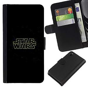 """A-type (Guerra de las Galaxias"""") Colorida Impresión Funda Cuero Monedero Caja Bolsa Cubierta Caja Piel Card Slots Para Sony Xperia Z3 D6603"""