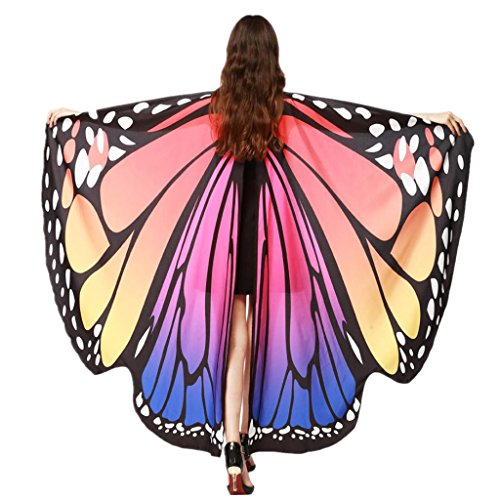 GOODCULLER Women Butterfly Wings Shawl Scarves Nymph Pixie Poncho Costume Accessory (Hot Pink)