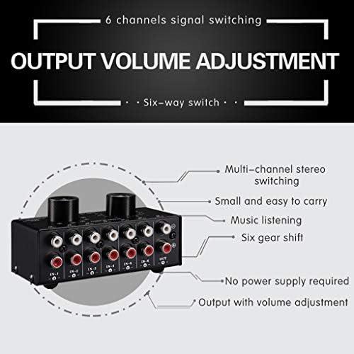 6入力1つの出力オーディオ信号ソースの選択スイッチャ、出力ボリューム調整制御RCAポート