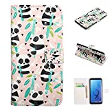 Shinyzone Wallet Case Compatible with Samsung Galaxy S9 Plus,PU Leather Folio Cover with Credit Card Hand Wrist Straps Kickstand Magnetic Shockproof Colorful Design Skin,Bamboo Panda