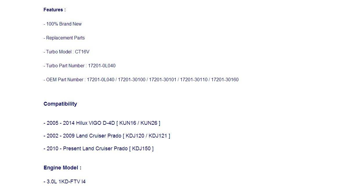 Turbocharger 17201-0L040, 17201-30100 - Actuador electrónico de basura: Amazon.es: Coche y moto