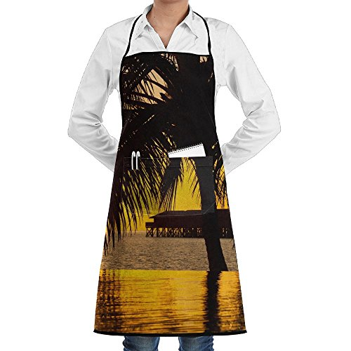 - Tahiti Summer Sunset Of Beach Apron Lace Adult Mens Womens Chef Adjustable Polyester Long Full Black Cooking Kitchen Aprons Bib With Pockets For Restaurant Baking Crafting Gardening BBQ Grill