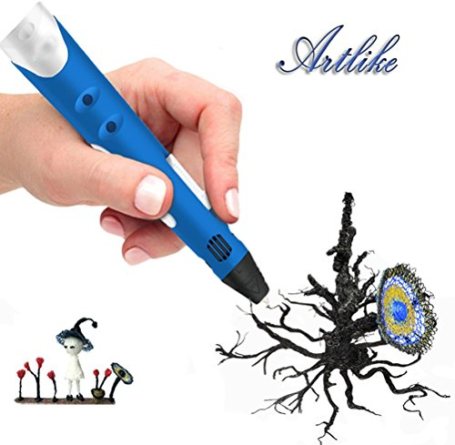 (Artlike 2016 Newest 3D Stereoscopic Printing Pen for 3D Doodling and Drawing with Power Adapter ABS for Children(Blue))